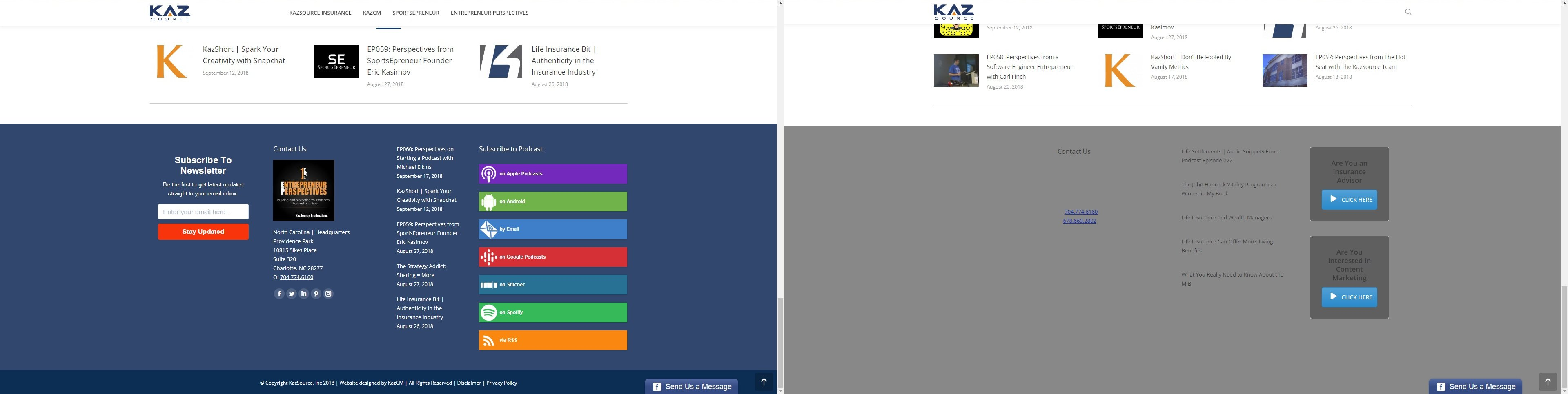KazSource website footer. The image on the left is correct, the image on the right is our site with an error.
