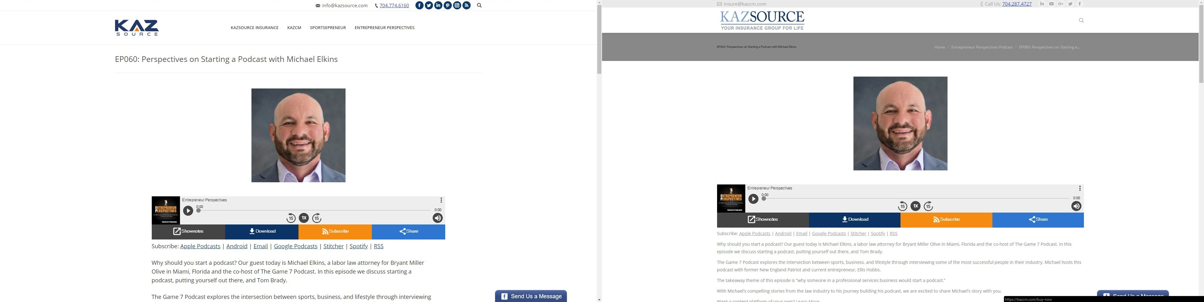 KazSource website header. The image on the left is correct, the image on the right is our site with an error.